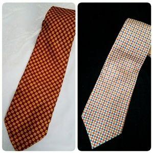 Two Vintage Silk Ties, Orange, Blue, White